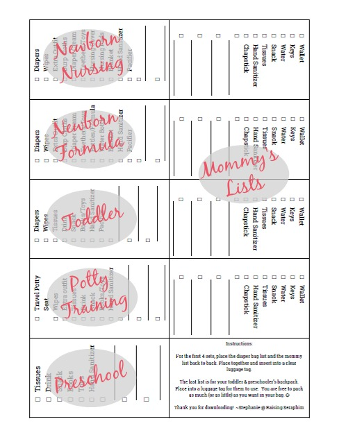 Printable Checklists for all ages. Print and put in a luggage tag for your diaper bag. So you never forget anything. Great idea!