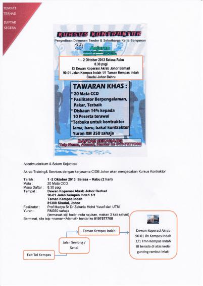 Tarikh Baru Kursus Kontraktor Pada 1-2 Oktober 2013 (Selasa-Rabu) Klik Foto