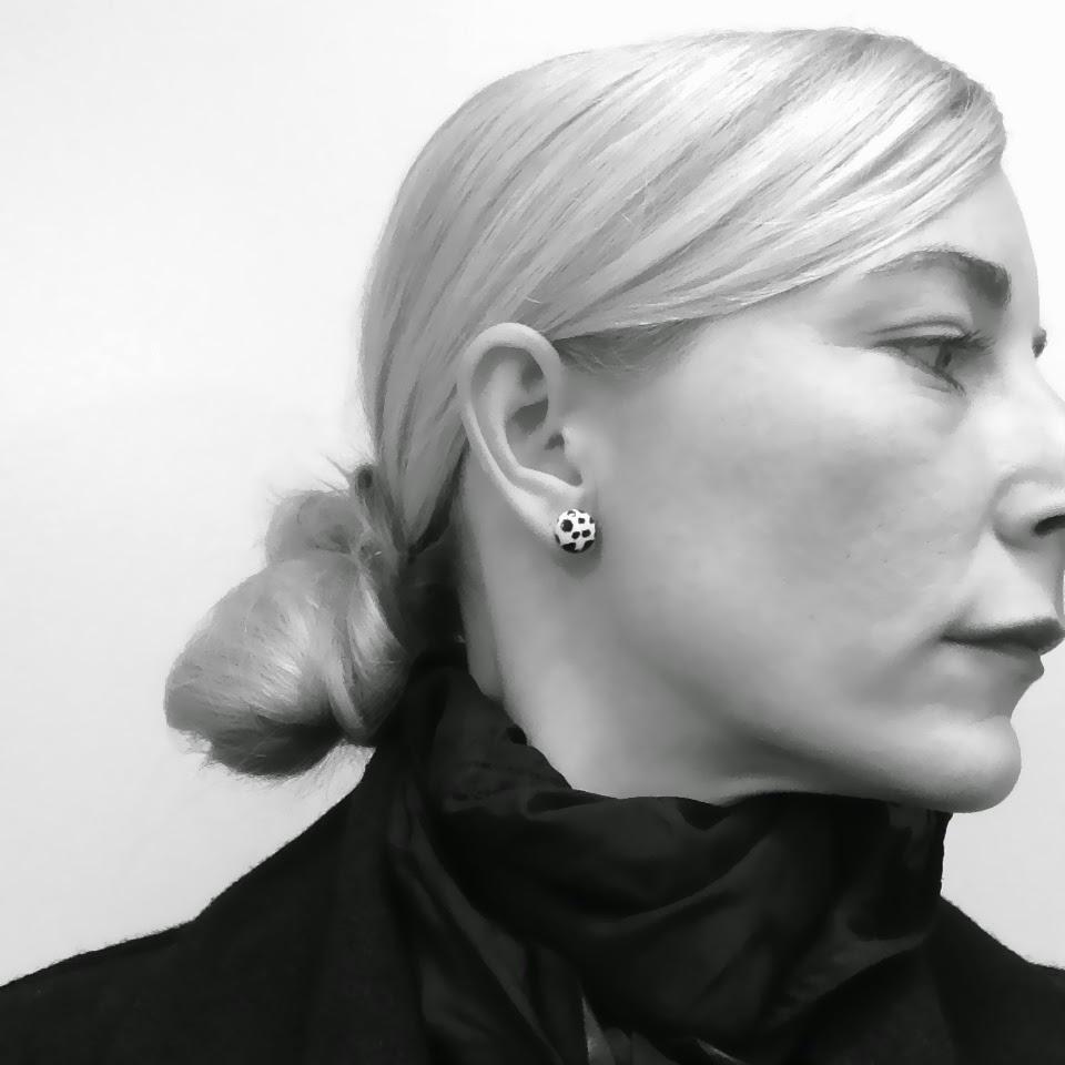 Diesel coat, HM earrings, Bllack Noir scarf