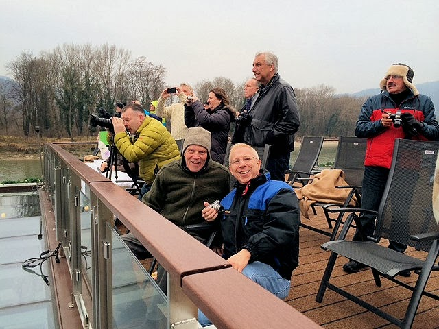 Friends and I enjoy the views of Austria's Wachau Valley aboard the Viking Skadi longship. Photo: Kathy Hall. Unauthorized use is prohibited.