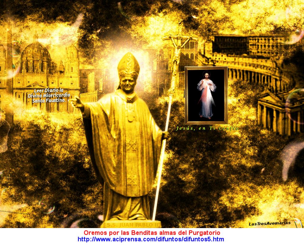 imagen de juana pablo segundo con cuadro de jesus misericordioso