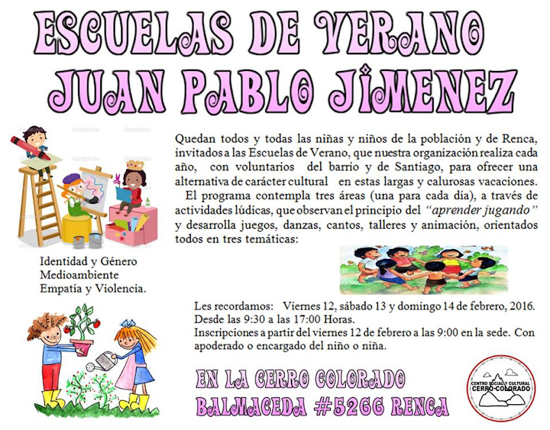 RENCA: ESCUELAS DE VERANO JUAN PABLO JIMENEZ