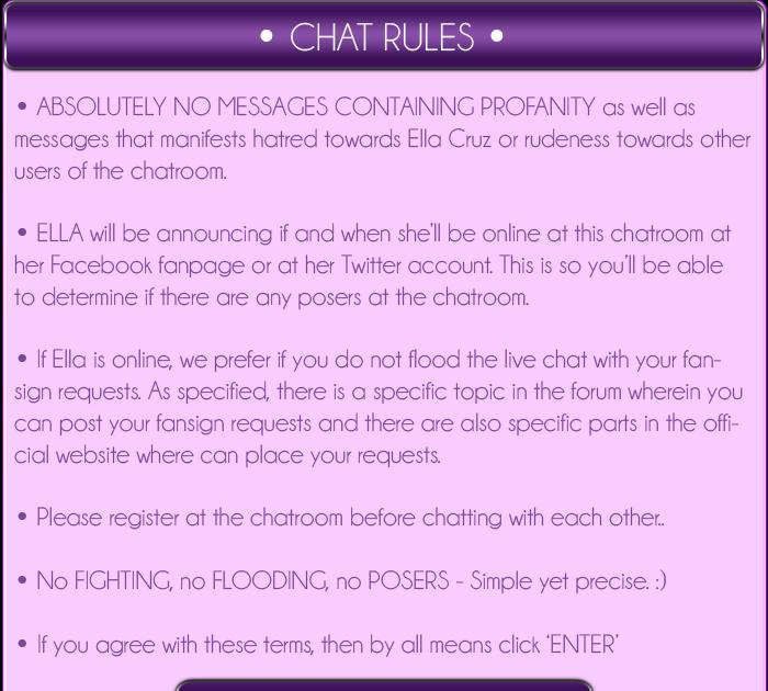 Ella Cruz\' Interactive Website: Chat Rules