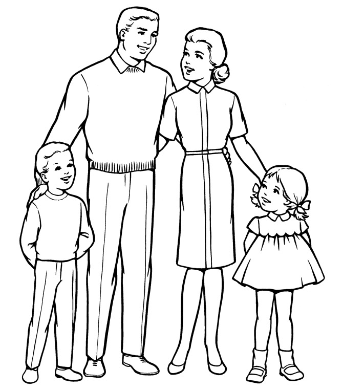 Family People And Jobs Coloring Sheets Family Coloring Page