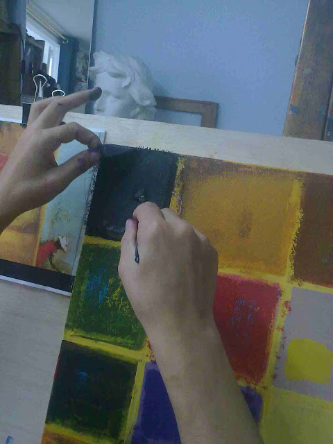 cuadro abstracto con textura y color
