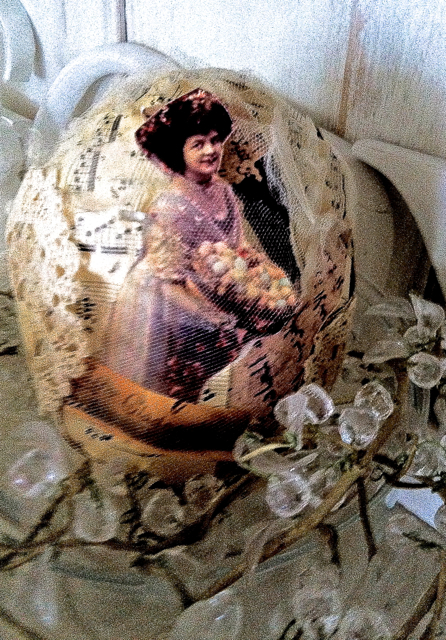 swedish interior design paper mache easter egg handmade with lace and netting