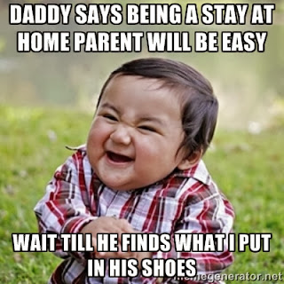 Daddy says being a stay home parent will be easy. Wait till he finds what I put in his shoes.