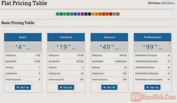 Flat Pricing Table for Boostrap