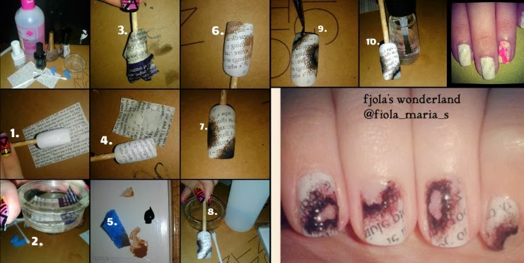 Fjolas wonderland step by step burned newspaper nails burned newspaper nails design by fjola prinsesfo Choice Image
