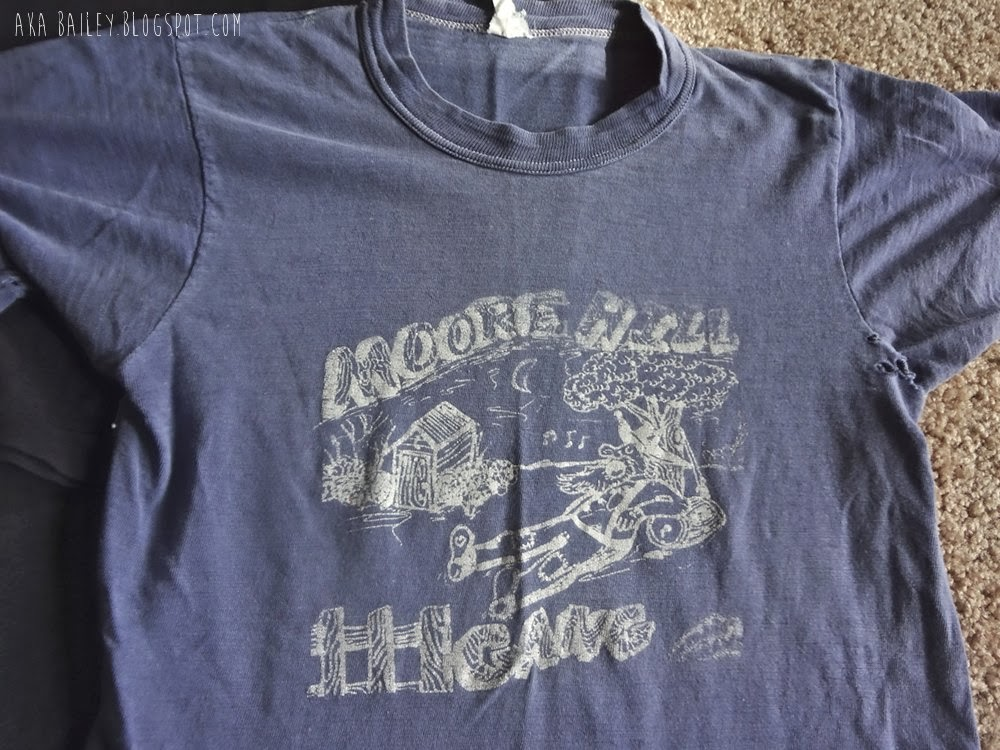 Vintage band t-shirt, Moore Hill Gang, blue t-shirt with white graphic