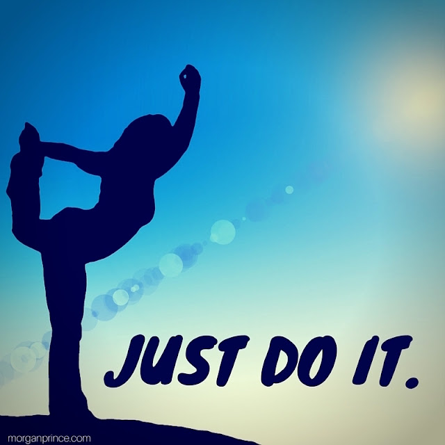 Silhouetted woman doing yoga with slogan 'just do it'.