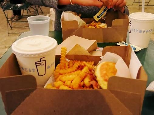 Shake Shack SmokeShack Bacon Burger, fries and lemonade