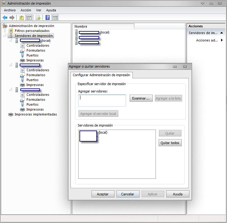 Agregando Host remoto para la administración por printmanagement.msc