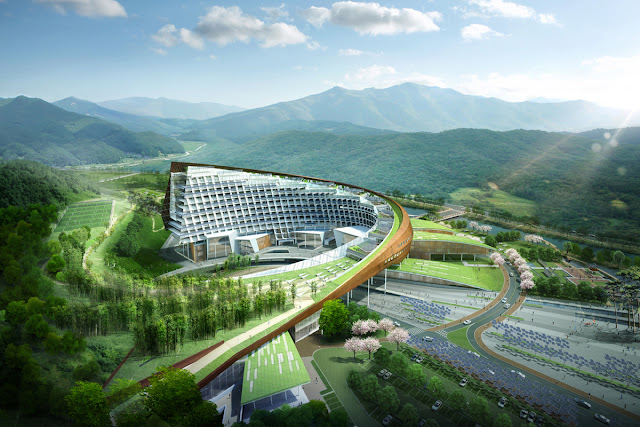 Photo of new complex between the mountains