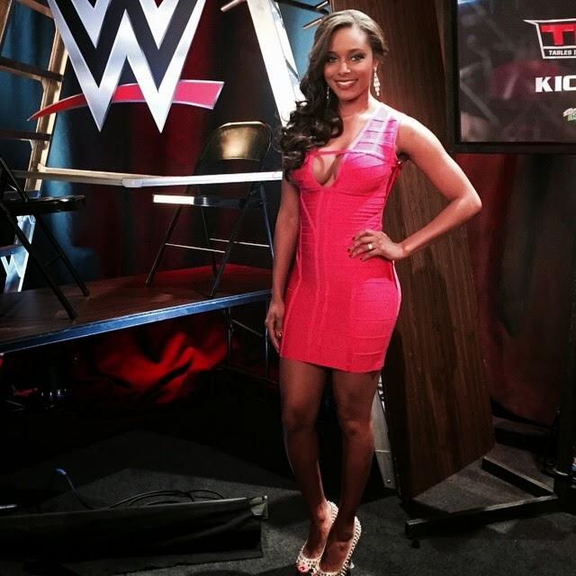 Brandi Lookin Sexy in a Bright Pink Dress Backstage at TLC.
