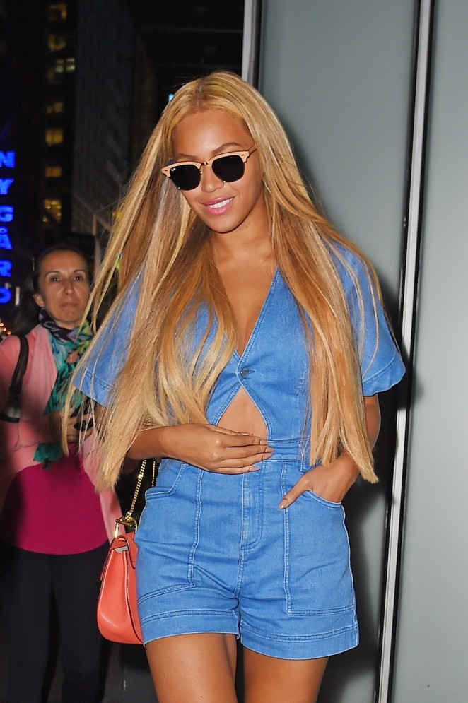 Beyonce is sexy in a denim playsuit out and about in NYC
