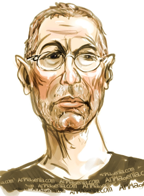 Eric Clapton caricature cartoon. Portrait drawing by caricaturist Artmagenta