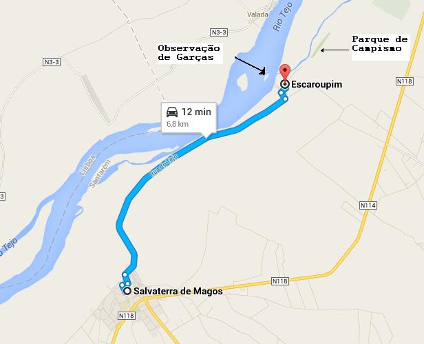 Mapa para chegar á aldeia de Escaroupim