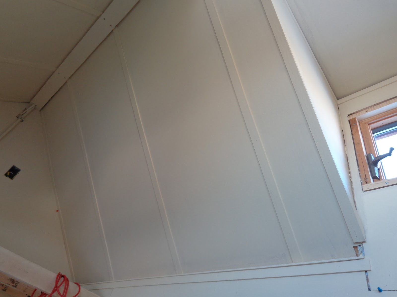 In A View Of The Port Side Cathedral Ceiling More Battens May Be Seen Under Coat Primer Also Kyles Nice 1 X 3 Peak Trim Is Visible Covering