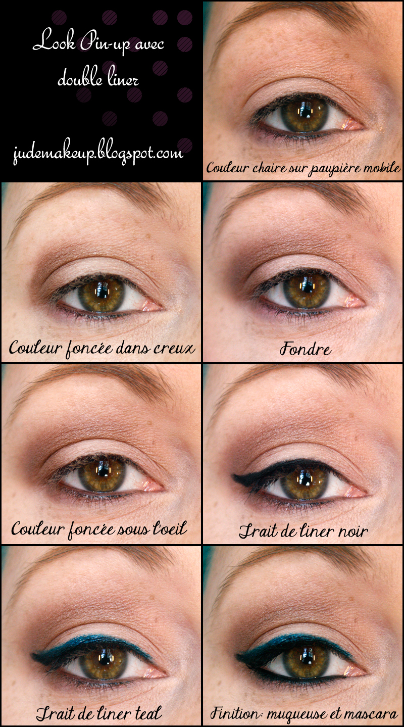 jude makeup look tuto style pin up avec liner double. Black Bedroom Furniture Sets. Home Design Ideas