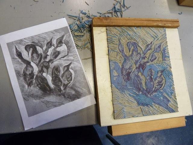 D Printing Exhibition Birmingham : Jacqui dodds art reduction lino print workshop at