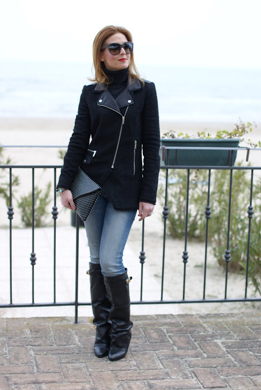 zara jacket, Choies fold over knee boots