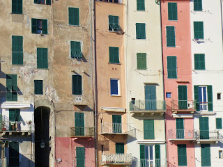 Tall Portovenere buildings along waterfront