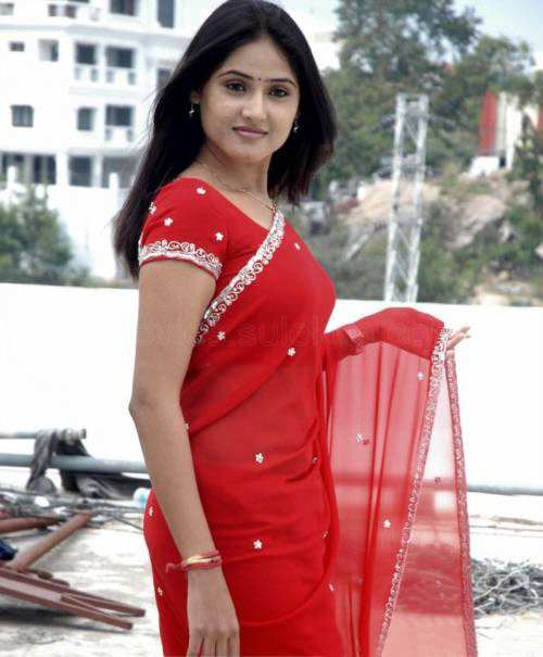sony charishta red saree cute stills