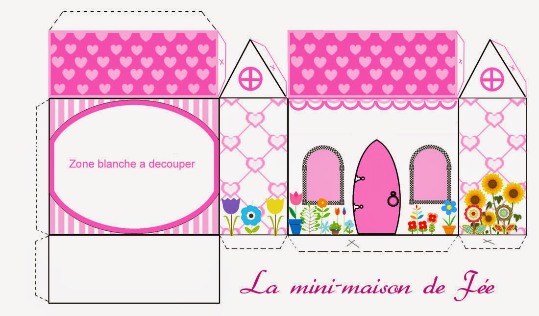 Hearts and Flowers: House shapped Free Printable Box.