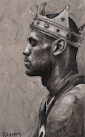 Lebron James Cavaliers Heat King James illustration wearing king's crown black and white