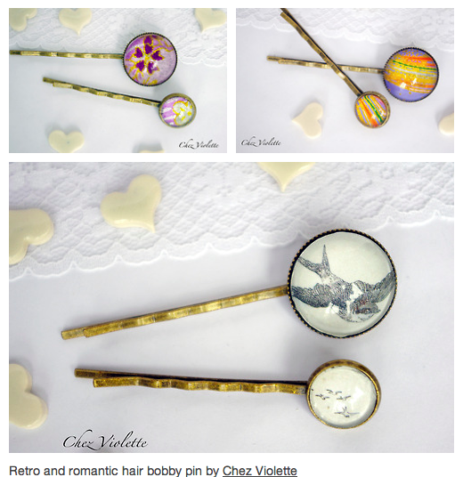 Hair pins romantic and retro by Chez Violette