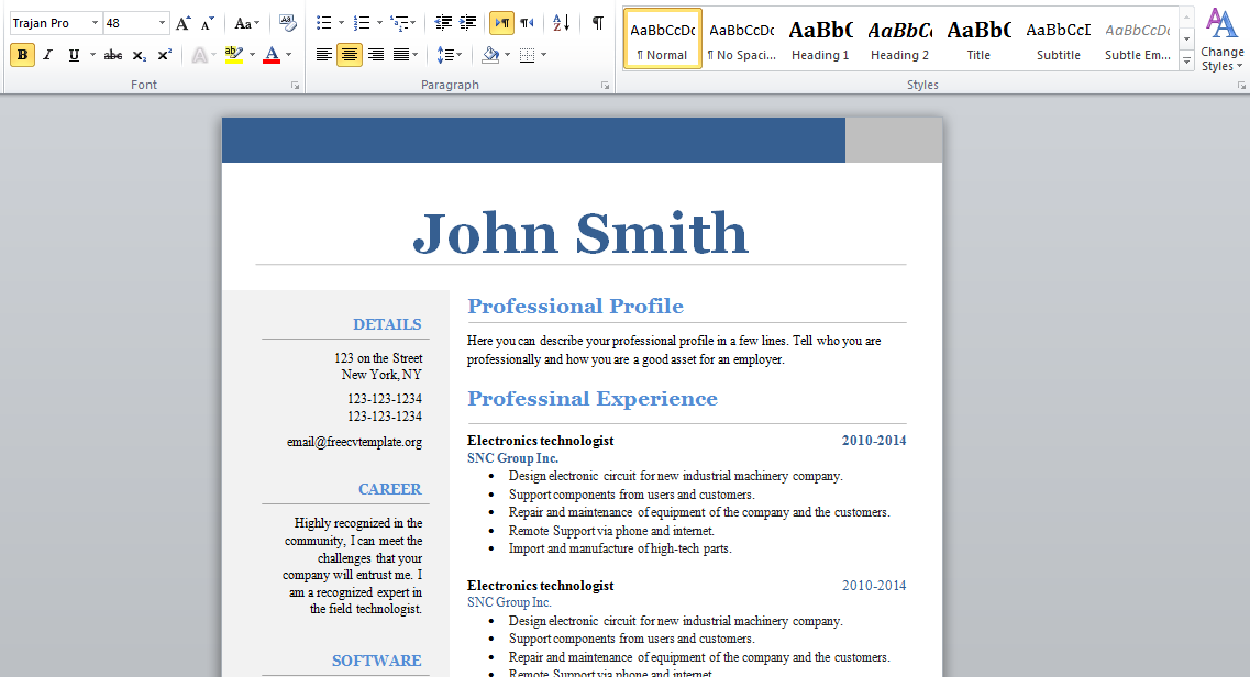 free word resume format 2015 stagepfe