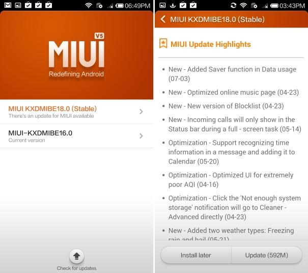 Xiaomi Mi3 update