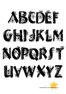 letras con arañas de halloween