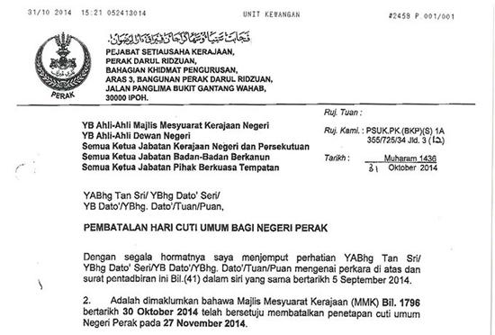 41) yang dikeluarkan dan bertarikh 5 September 2014 telah dibatalkan