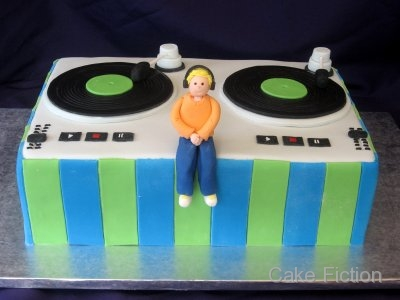 Cake Fiction DJ Turntable Birthday Cake and Cookie Favors