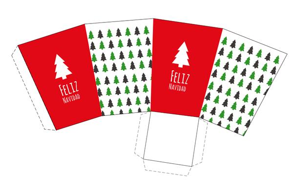 caja imprimible de navidad en color rojo