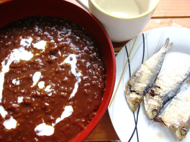 Chocolate Porridge with Salted Dried Fish