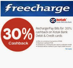 Freecharge : [Kotak Bank cards] Mobile, DTH, Data card recharge or Postpaid Bill Payment 30% cashback maximum Rs. 100