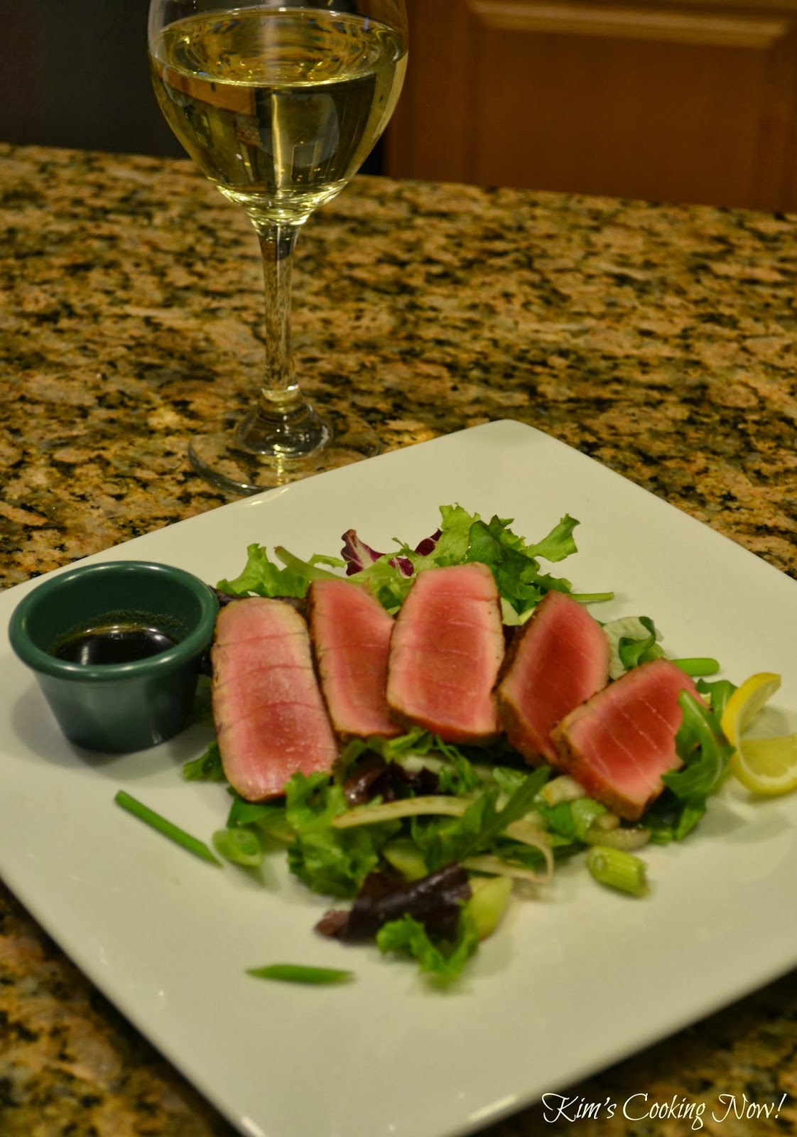 Seared Ahi Tuna with Wasabi Ponzu Dipping Sauce and Fennel Salad with ...