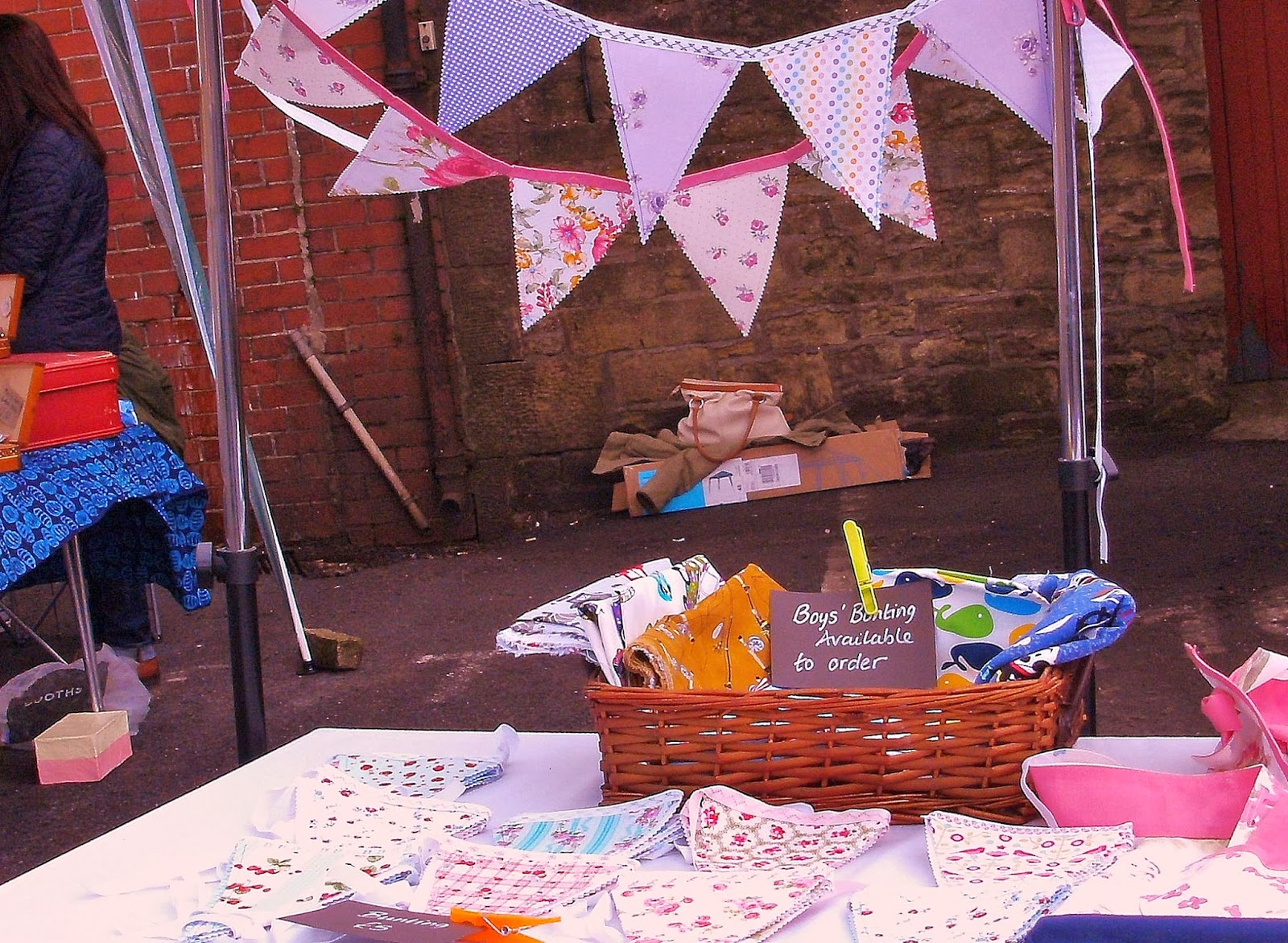 Stall at village market - the wind had really got up!