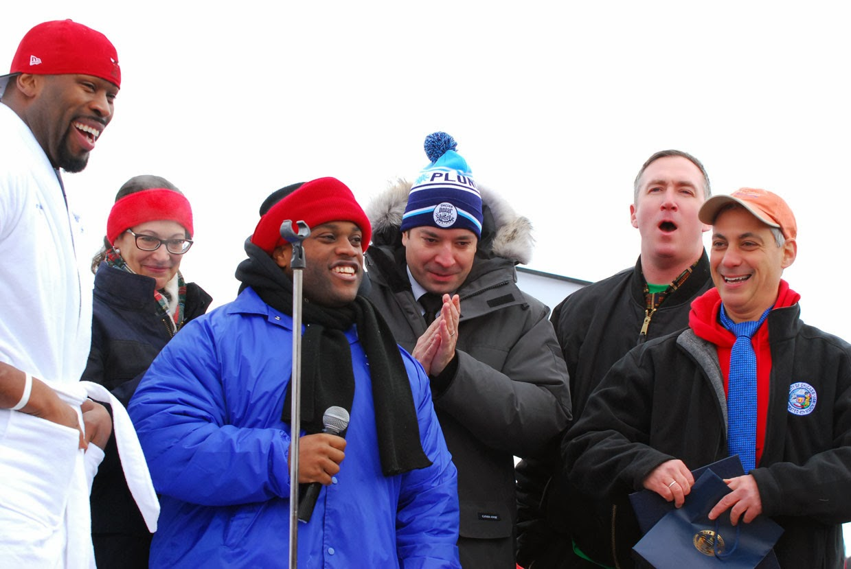 Israel Idonije (NFL), Keith Tyler (Special Olympics Chicago Athlete), Jimmy Fallon (The   Tonight Show) & Rahm Emanuel (Chicago Mayor)