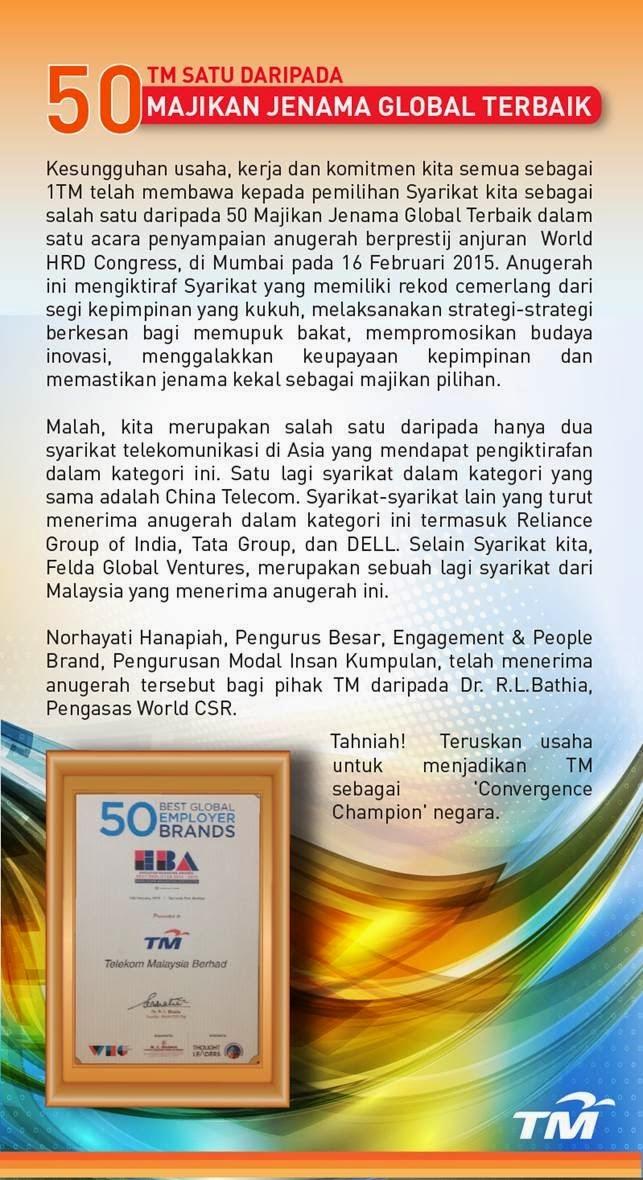 TM Satu daripada 50 Majikan Jenama Global Terbaik