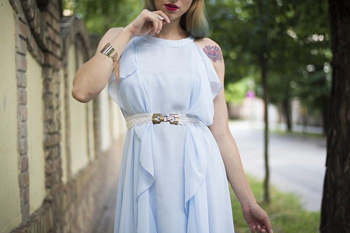 Skinny Buddha Sheinside Blue Halter Ruffle High Low Dress