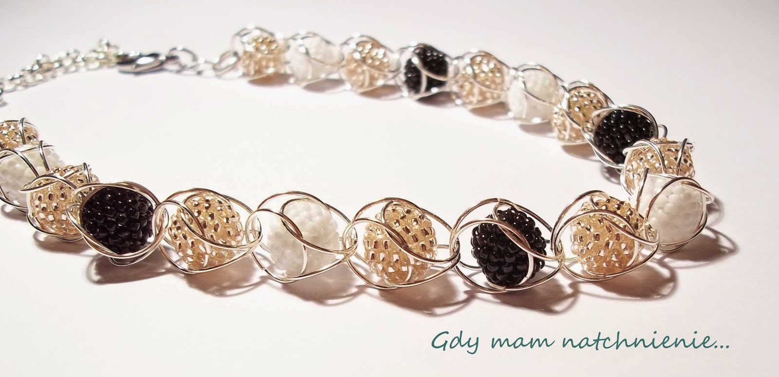 beaded ball captive chain maille necklace