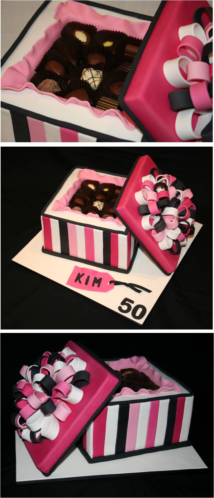 ... Cakes and Parties . . . . .: Chocolate Gift Box - 50th Birthday Cake