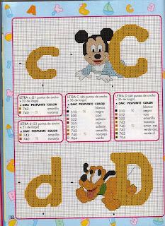 Alfabeto de Bebés Disney para punto de cruz.