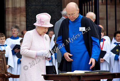 HM The Queen with The Very Reverend Michael Tavinor, Dean of Hereford Cathedral