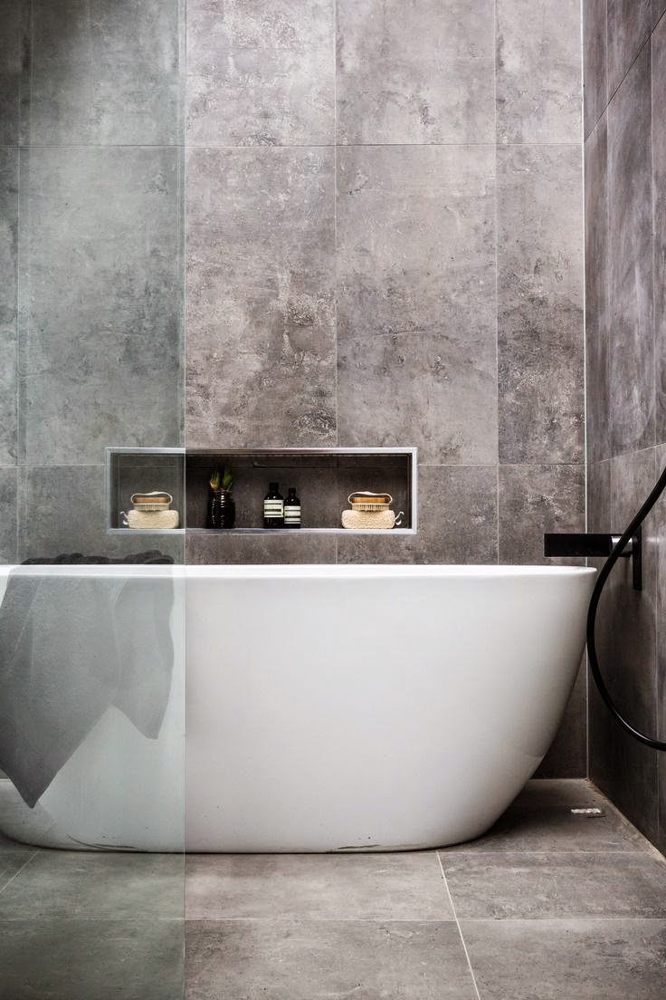 Cement bathroom tiles - Concrete Effect Tiles Feature Authentic Textures And Different Industrial Shades And Are Perfect For Both Urban Spaces And Modern Houses