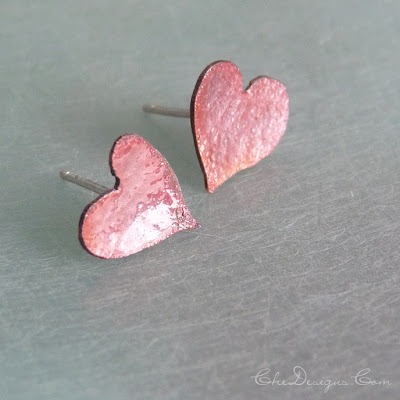 copper enamel heart post earrings, handmade for Valentines Day, gifts